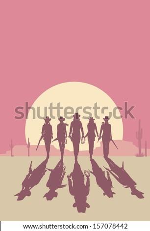 cowgirls walking towards at