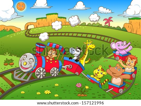cute animals  train eps10 file
