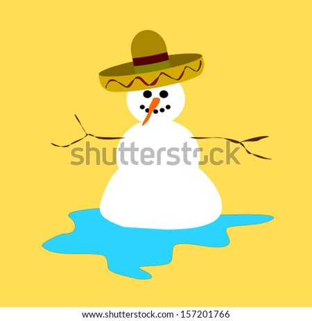 melting snowman wearing sombrero