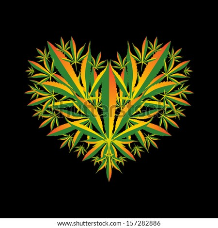 marijuana leaf heart symbol
