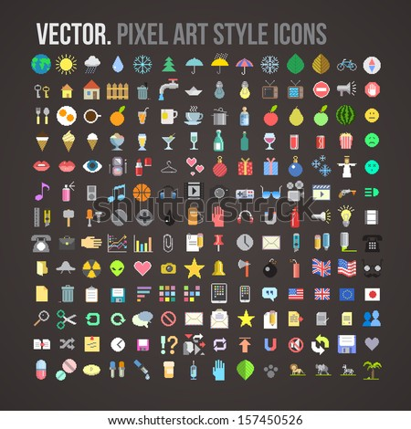 vector color pixel art style