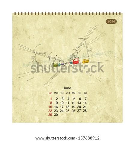 calendar 2014  june streets of