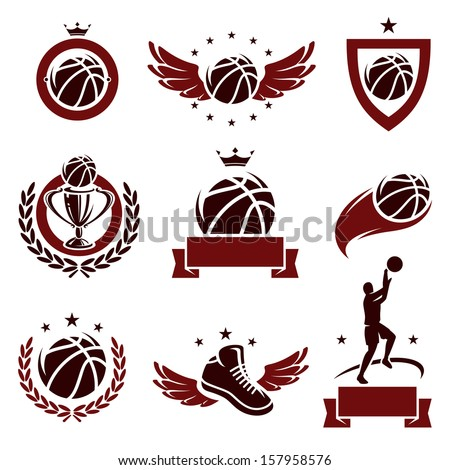 basketball labels and icons set