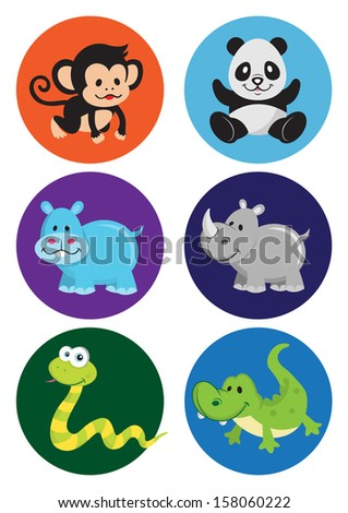 assorted cartoon wild animals 2