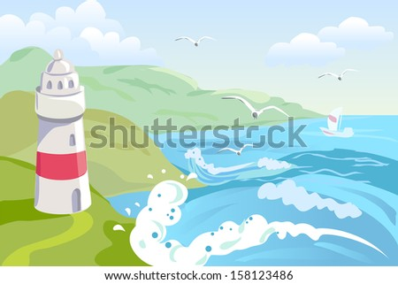 seascape with a lighthouse
