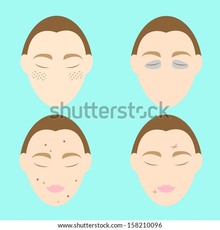 woman face problems on blue