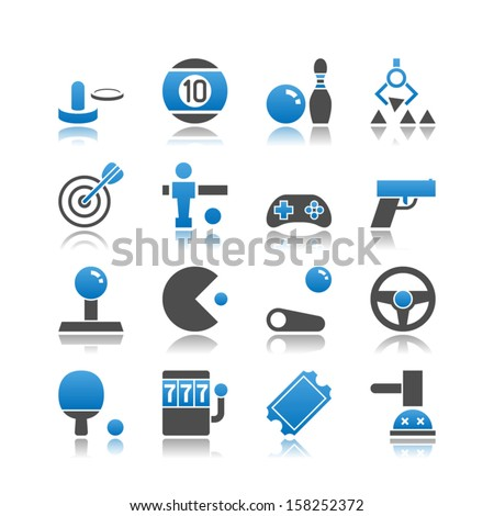 set of 16 arcade simple vector