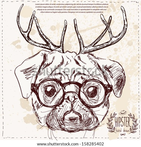christmas hipster dog with deer