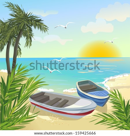 sea coast with boats vector
