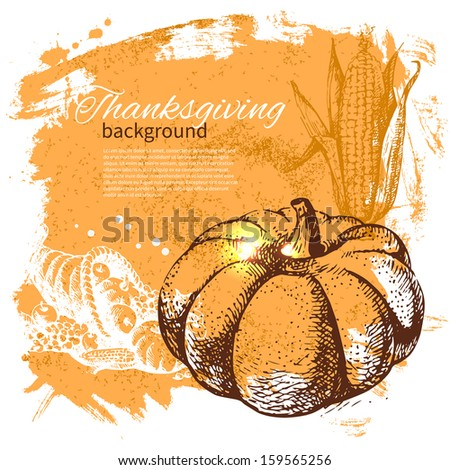 hand drawn vintage thanksgiving