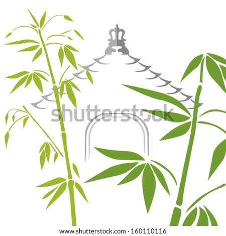 bamboo and temple pagoda roof