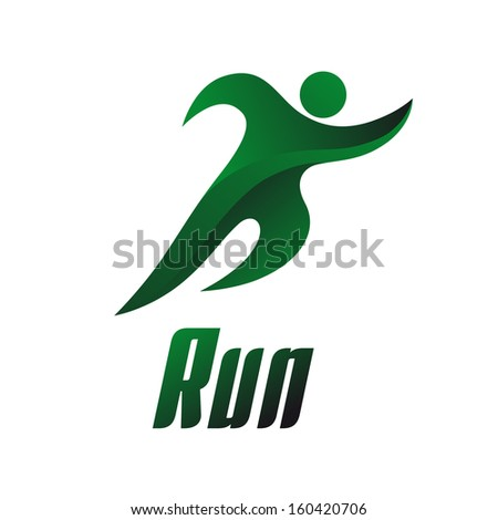 run  athlete on a white