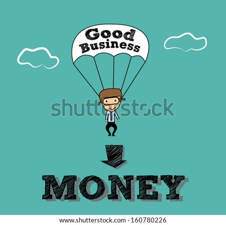 business  man parachute go to