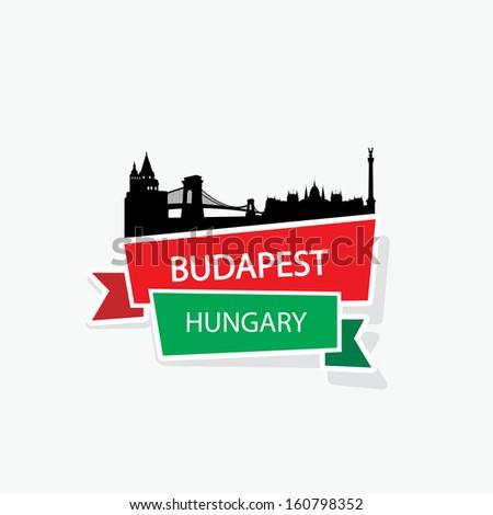 budapest ribbon banner   vector