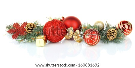 stock-photo-composition-of-the-christmas-decorations-isolated-on-white