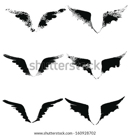 vector set of grunge wings 2
