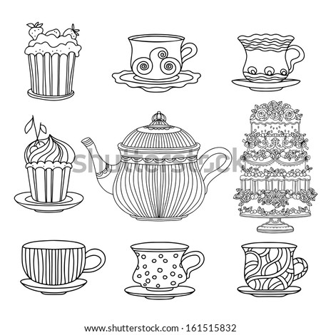 set cups  cakes  cake stand and