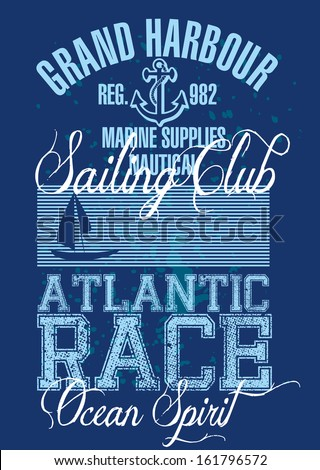 vintage sailing club vector art
