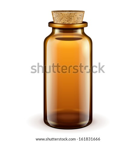 medical glass brown bottle with