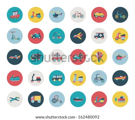 set of flat transport icons