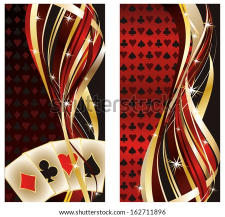 two casino banners with poker