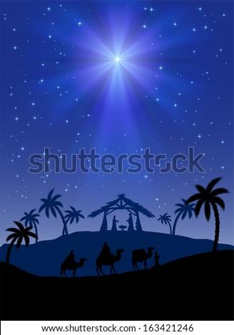 christian christmas scene with