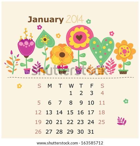 floral calendar 2014  january