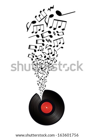 music notes takes off vinyl
