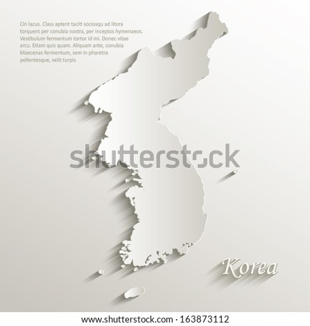 korea map card paper 3d natural