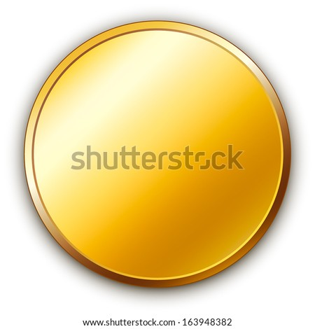 round golden vector medal with