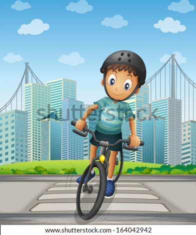 illustration of a boy biking in