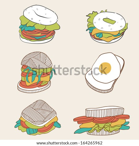 cartoon burgers set fast food