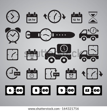 clocks icons on gray background