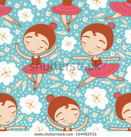 dancing girl seamless pattern