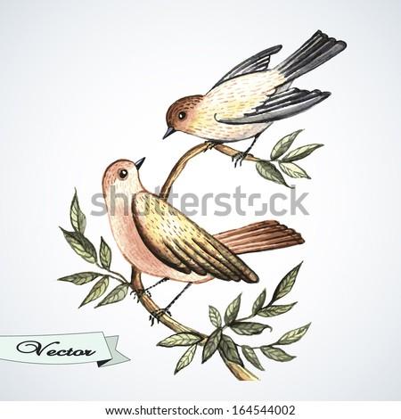 vector watercolor bird lovers