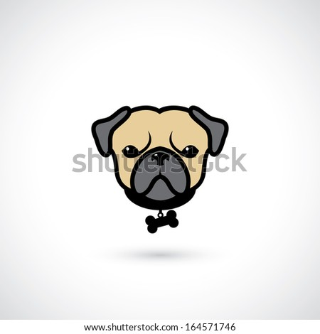 pug head   vector illustration