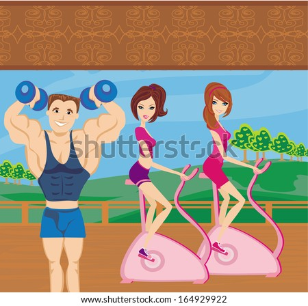 a group of people exercising in