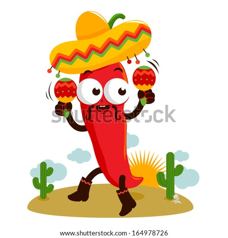 a happy mariachi chili pepper