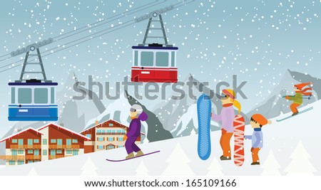 skiing and the snowboarding in