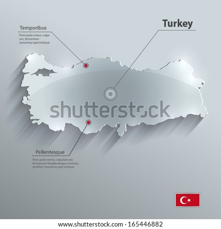 turkey map glass card paper 3d