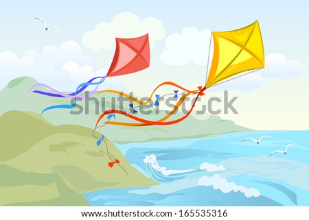kite flying over the sea