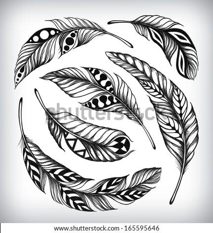 decorative set of feathers
