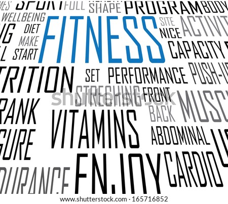 vector fitness text close up