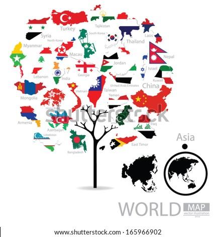 tree design map flag of asia
