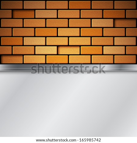 brick wall with metallic place