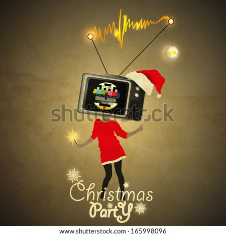christmas party flyer tv head