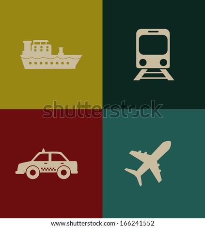transport icon over colors