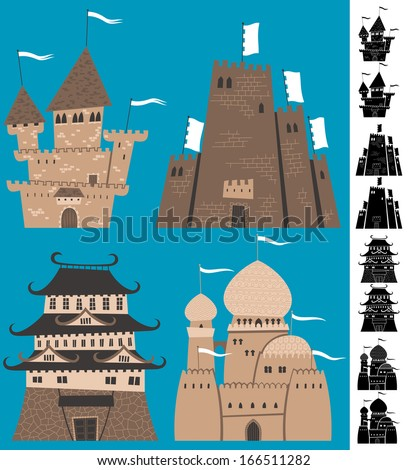 cartoon castles  set of cartoon