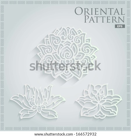 set of 3d oriental decorate