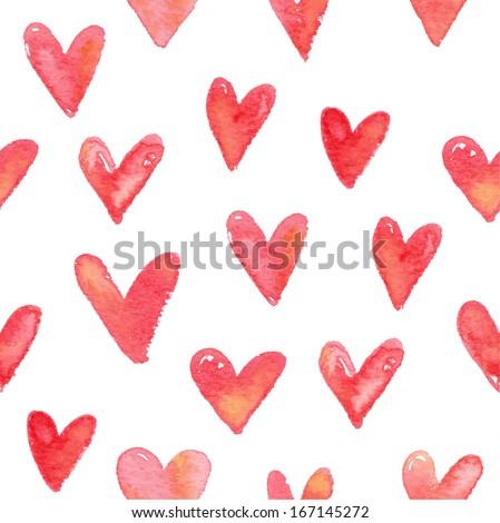 watercolor hearts seamless